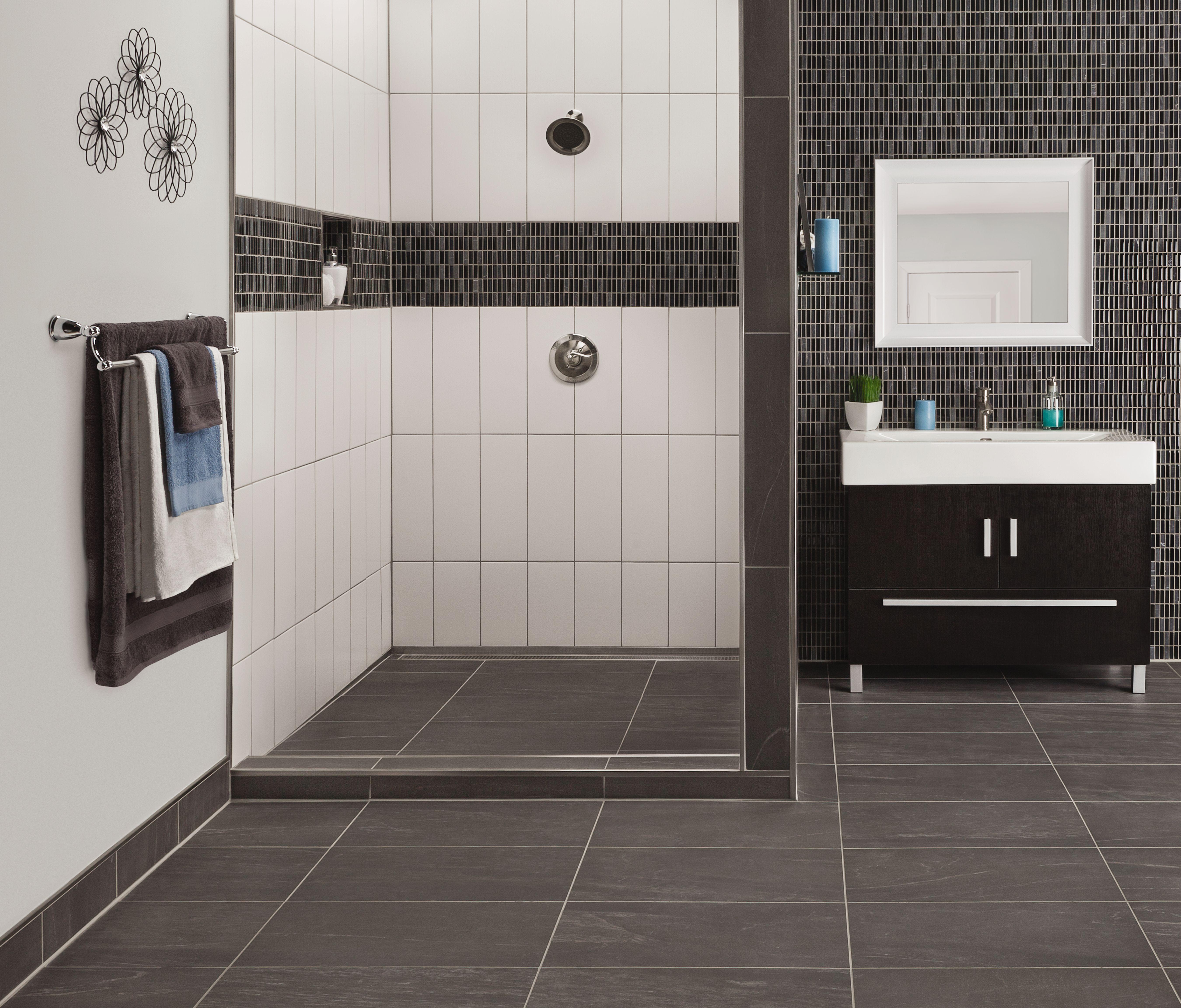 Bathroom tile floor installation