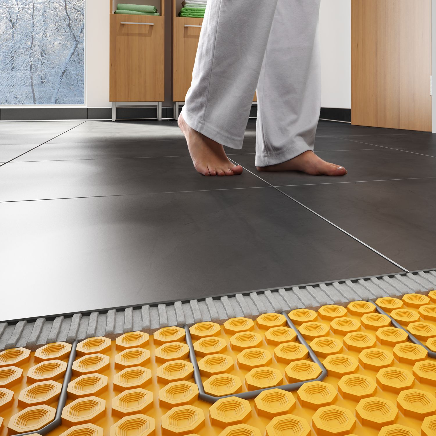 Heating tile floors