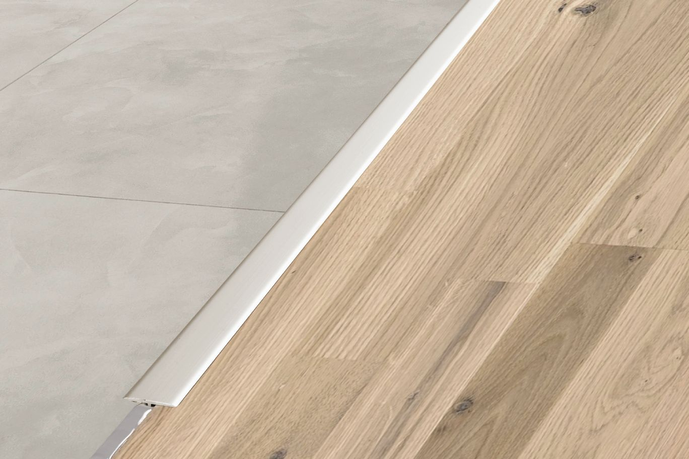 Schluter reno t same height transitions for floors for Floor profile