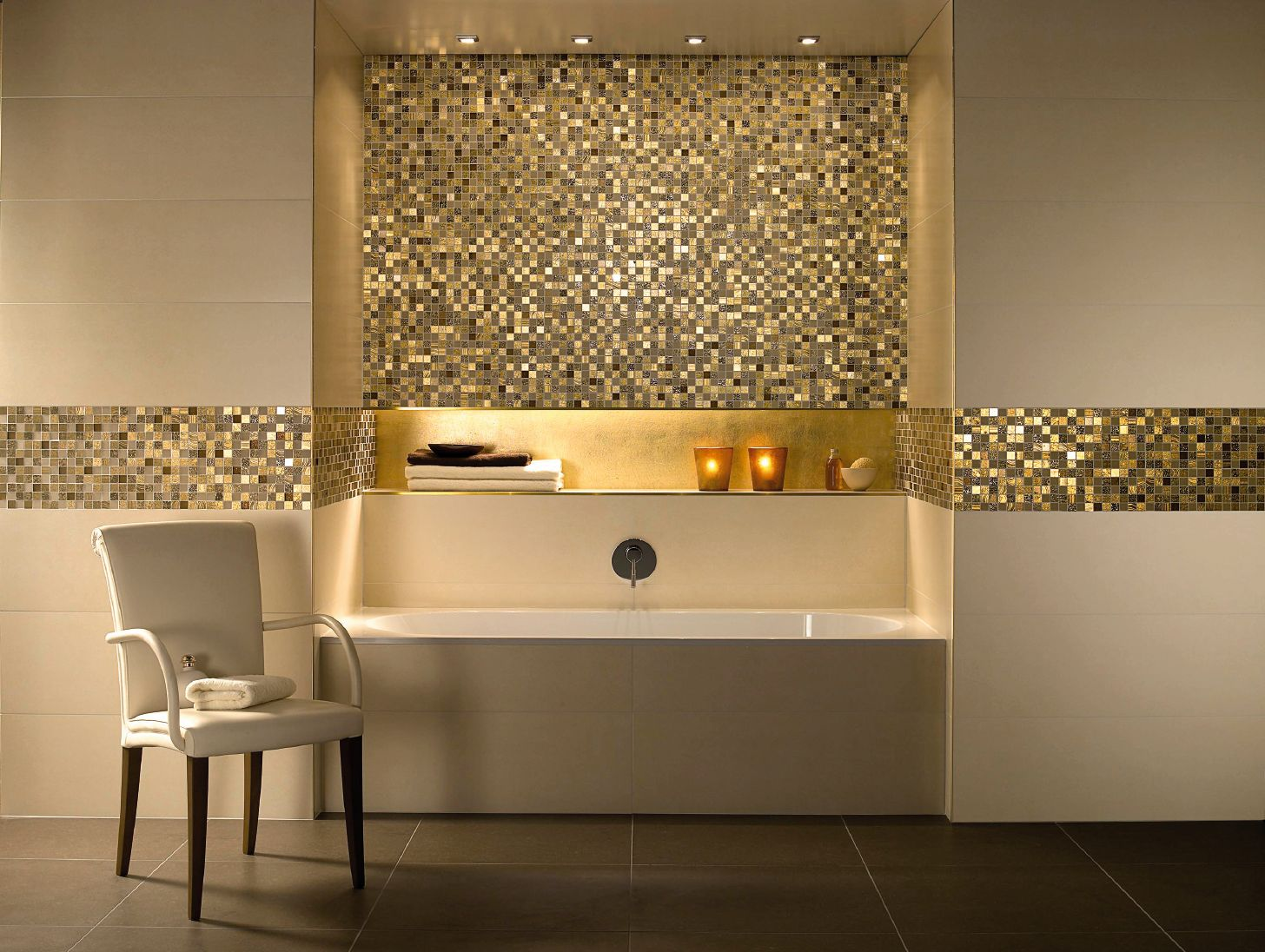 SCHIENE Featured In Brass Trims Out The Niche, And Provides Matching Edging  To The Mosaic Wall.