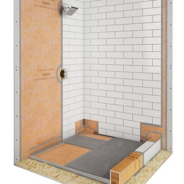 shower with linear drain