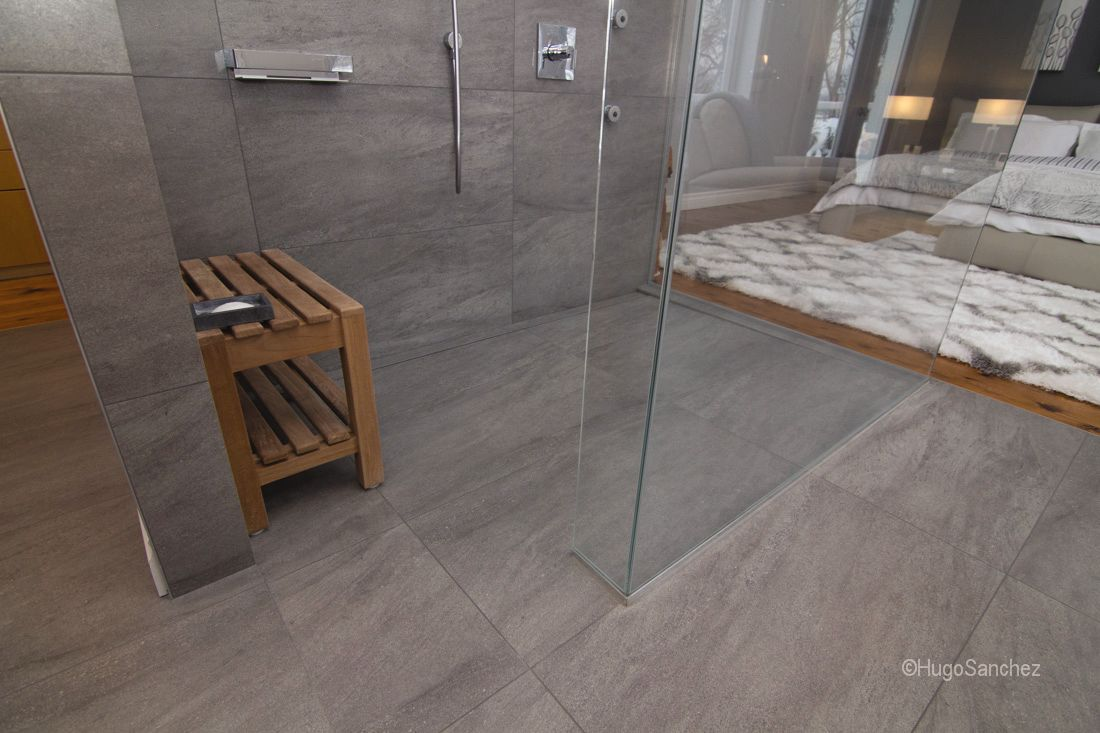 Waterproofing bathroom tile - Barrier Free Bathroom Featuring The Kerdi Line Linear Drain With Frameless Tileable Grate This Grate Incorporates The Same Tile Used Throughout The Rest Of
