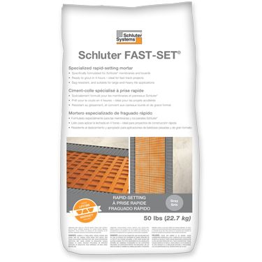 Schluter FAST-SET® Specialized Rapid-setting Thin-set Mortar Ready to grout in 4 hours for fast-track projects