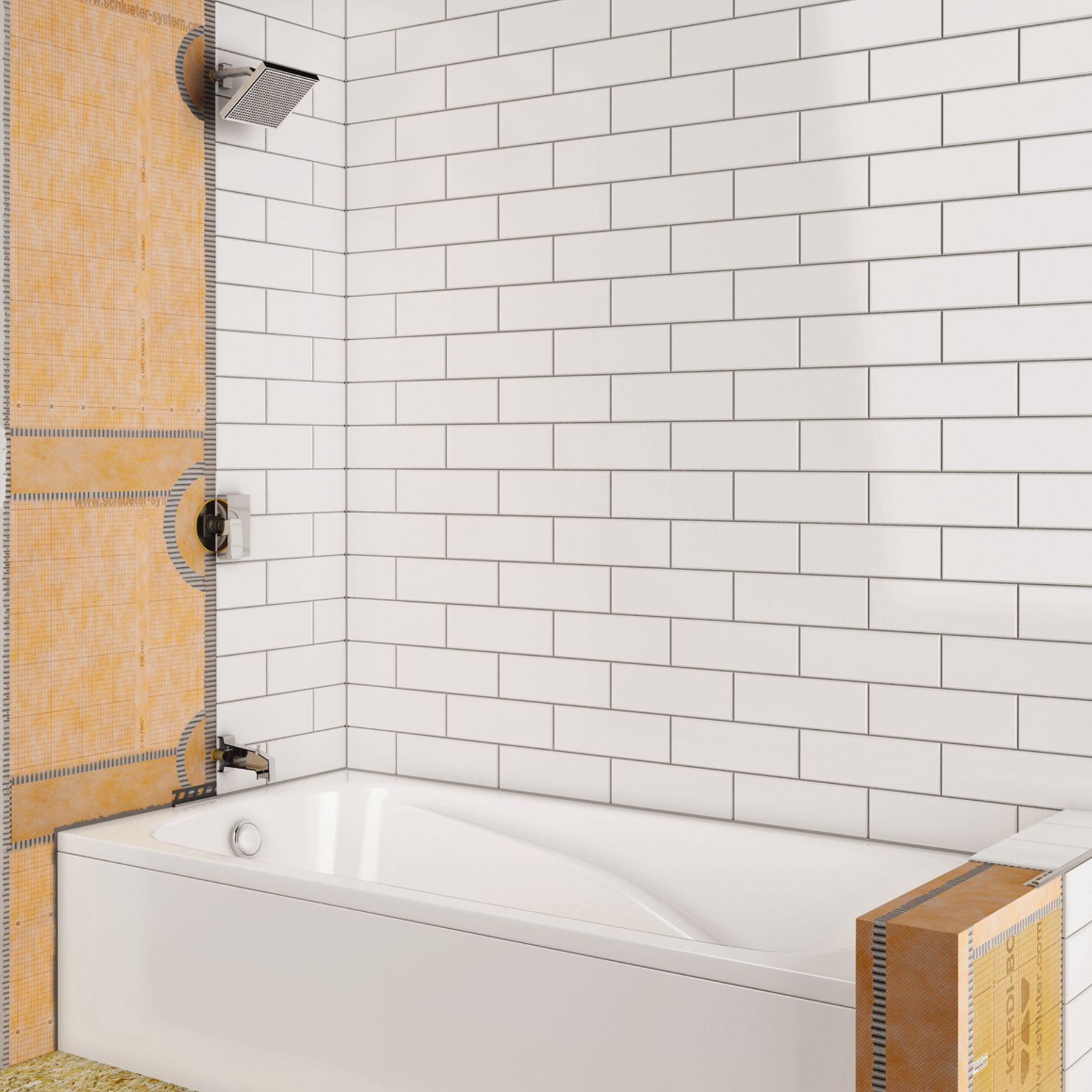Shower with bathtub for Crossing the shallows tile mural