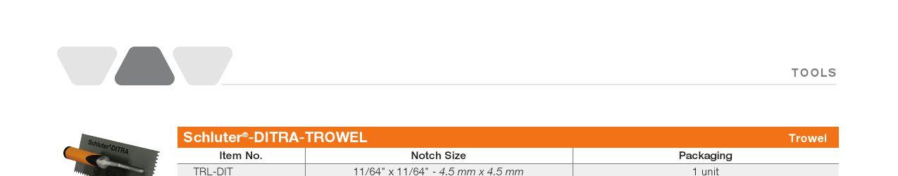 11//64 X 11//64 SQUARE NOTCH SCHLUTER DITRA TROWEL