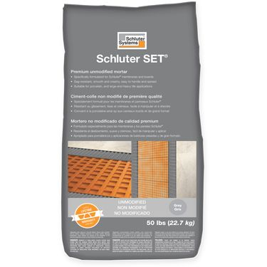 Schluter SET® Premium Unmodified Thin-set Mortar Approved to set tile, including porcelain tile, over Schluter boards and membranes