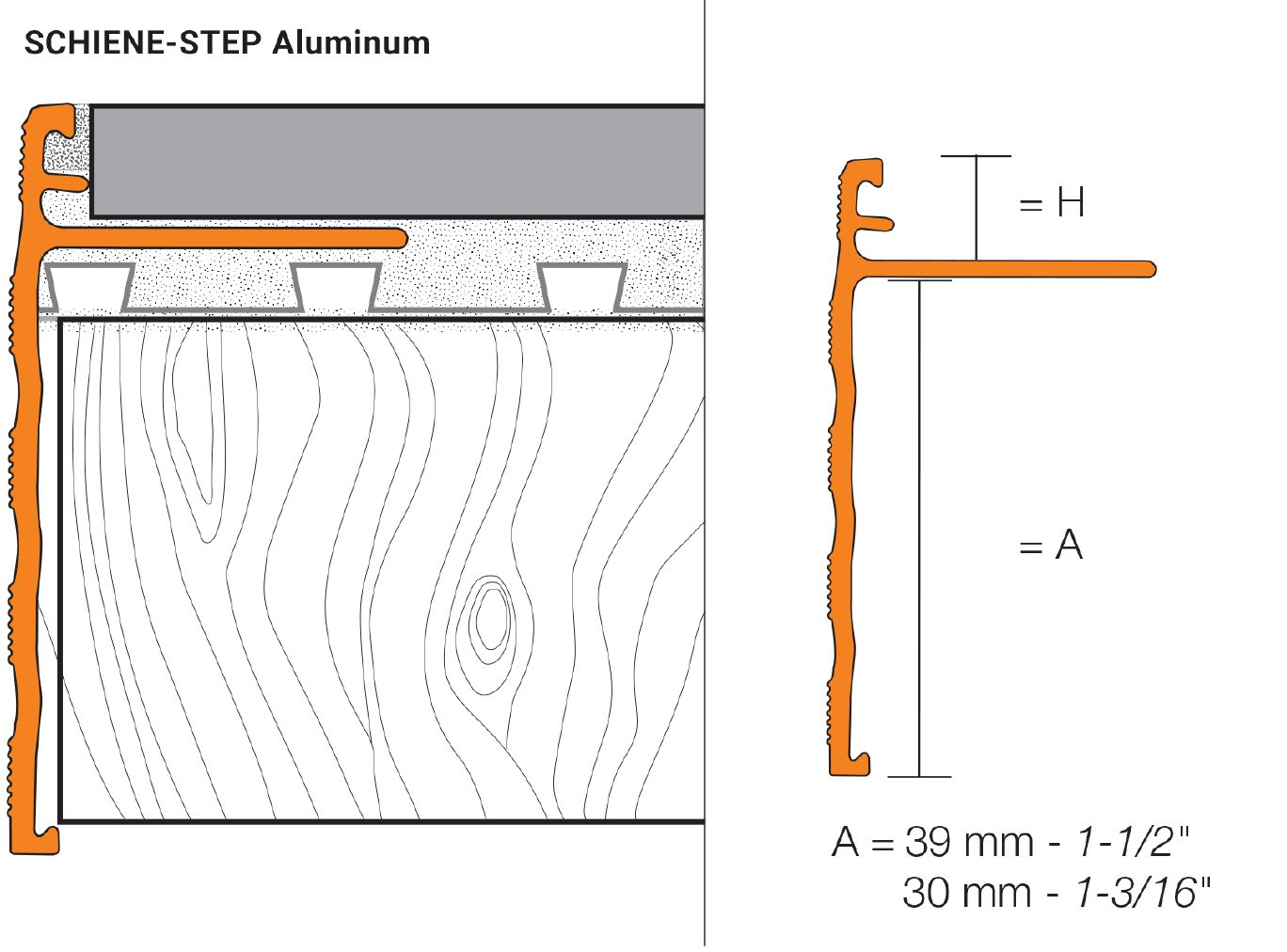 schluter schiene step cover the sub assembly for. Black Bedroom Furniture Sets. Home Design Ideas